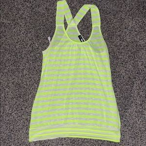 Neon yellow and white stripe racer back tank